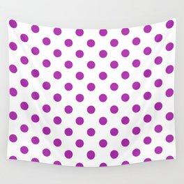 Polka Dots (Purple & White Pattern) Wall Tapestry
