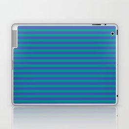 Even Horizontal Stripes, Teal and Indigo, S Laptop & iPad Skin