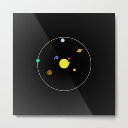 Solar System - Minimalism Abstract Pastel Colours Metal Print