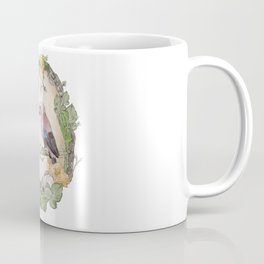 Watercolor Woodland Birds Jays in a Forest Plants , Blackberries Ivy and Fungi Mushroom Frame Coffee Mug