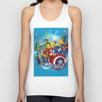 superheroes Tank Tops featuring Superheroes by Adrien ADN Noterdaem
