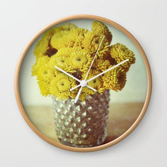 yellow makes me happy Wall Clock