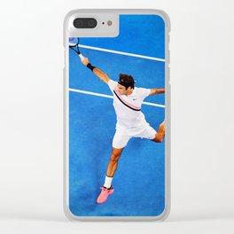 Flying Federer Tennis Backhand Clear iPhone Case