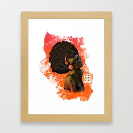 Afro Nerd Girl II (Orange) Framed Art Print