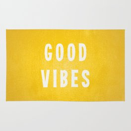 Sunny Yellow and White Distressed Effect Good Vibes Rug