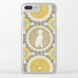 BLUE WEIMARANER & AMBER MEDALLIONS Clear iPhone Case