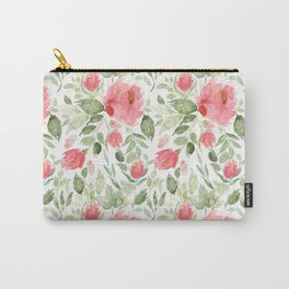 Painted Watercolour Garden Red Roses Carry-All Pouch