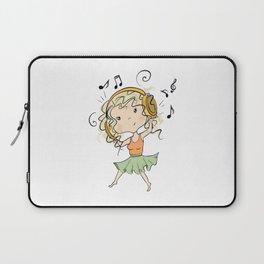 Girl With Headphones Laptop Sleeve