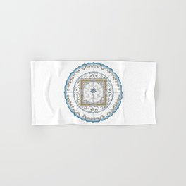 Honeycomb Mandala in Blue and Gold Hand & Bath Towel