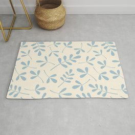 Assorted Leaf Silhouettes Blue on Cream Rug