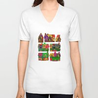 merry christmas V-neck T-shirts featuring Merry Christmas! by Klara Acel