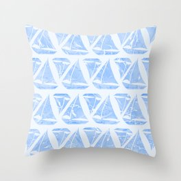 Blue Sailing Boats Water Pattern Throw Pillow