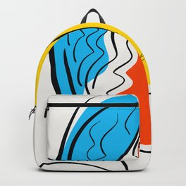 Graphic Minimal Portrait Design Orange Yellow and Blue Backpack