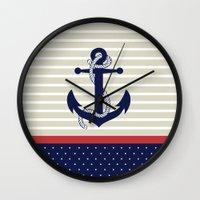 navy Wall Clocks featuring Navy by Vickn