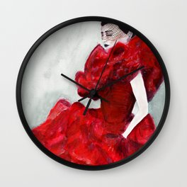 Red Frou Frou Frill Gown Wall Clock