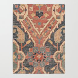 Geometric Leaves IV // 18th Century Distressed Red Blue Green Colorful Ornate Accent Rug Pattern Poster