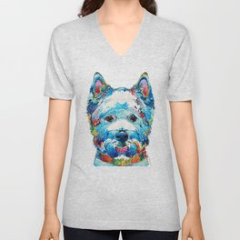 Colorful West Highland Terrier Dog Art Sharon Cummings Unisex V-Neck