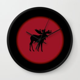 Bull Moose Silhouette - Black on Red Wall Clock