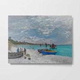 Claude Monet - The Beach at Sainte-Adresse Impressionist Landscape Oil Painting Metal Print