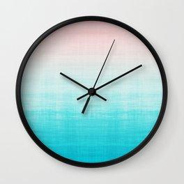 Grunge Pastel Millennial Pink Aqua Blue Teal Mint Linen Pattern Ombre Gradient Texture Wall Clock