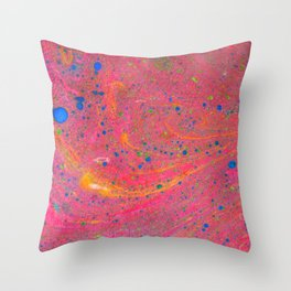 Marbling 3, Tie Dye Effect Abstract Pattern Throw Pillow