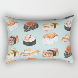 Sushi Persian Cat Watercolor Rectangular Pillow