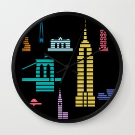 New York Skyline Empire State Poster Black Wall Clock