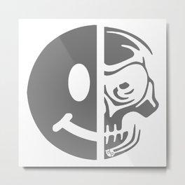Black Skull Smiley Face Dark Metal Print