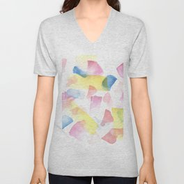 180527 Watercolour Abstract 10| Watercolor Brush Strokes Unisex V-Neck