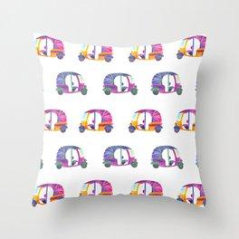 Funky rickshaws pattern Throw Pillow