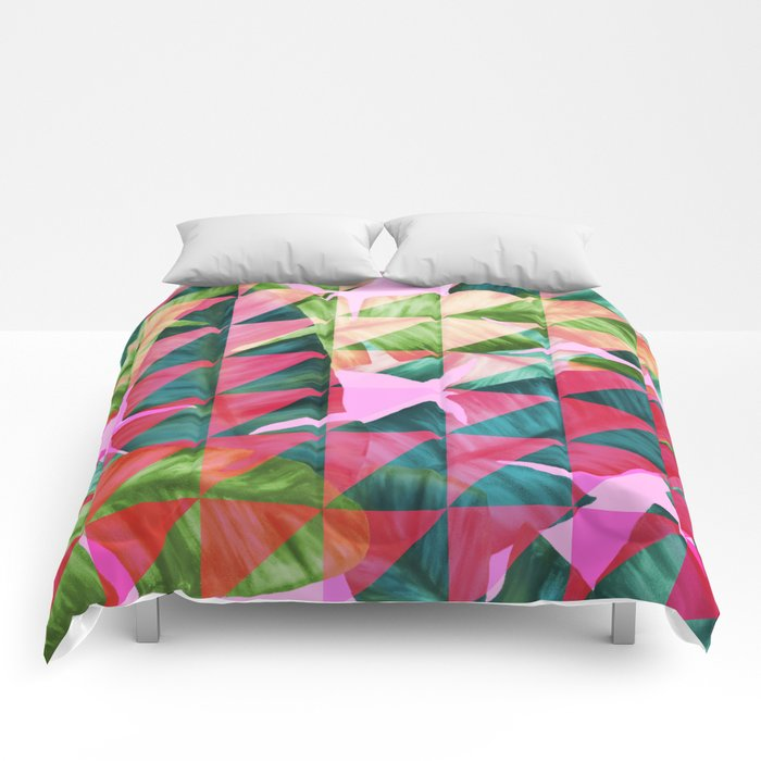 Abstract Hot Pink Banana Leaves Design Comforters