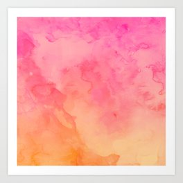 Modern summer hand painted pink orange sunset watercolor wash Art Print