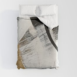 Armor [9]: a minimal abstract piece in black white and gold by Alyssa Hamilton Art Duvet Cover