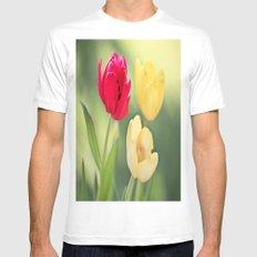 Red & Yellow Tulips Mens Fitted Tee White MEDIUM