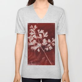 Brown Printed Leaves Unisex V-Neck