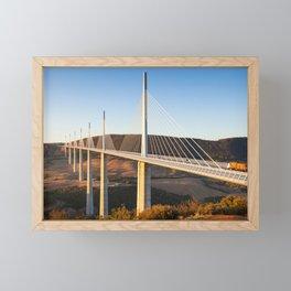 Millau Viaduct at Sunrise, Midi-Pyrenees, France Framed Mini Art Print