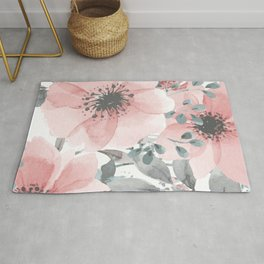 Watercolor Floral, Coral and Gray Rug