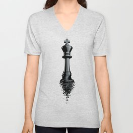 Farewell to the King / 3D render of chess king breaking apart Unisex V-Neck