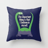 positive Throw Pillows featuring Myth Understood by David Olenick