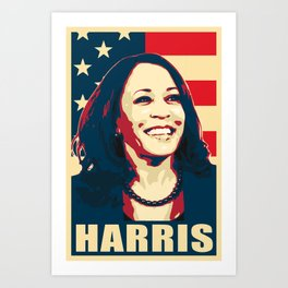 Kamala Harris Happy American Art Print
