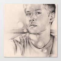 winchester Canvas Prints featuring Dean Winchester by kleinmeli