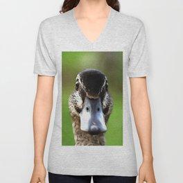 Hello Ducky Quirky Duck Portrait Unisex V-Neck