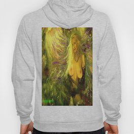 ART  NUDE fairy WOOD NYMPH NUDE fairy,magical in the forest ,gold green ladykashmir, mix,media, Hoody