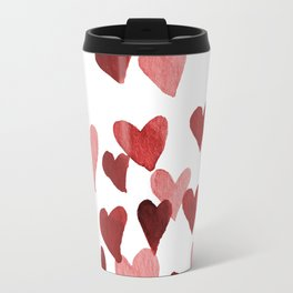 Valentine's Day Watercolor Hearts - red Travel Mug
