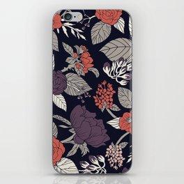 Purple, Gray, Navy Blue & Coral Floral/Botanical Pattern iPhone Skin