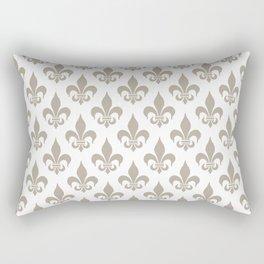 Fleur-de-Lis Pattern: Beige Rectangular Pillow