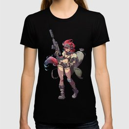 Cute Sniper Girl Illustrated Pin Up T-shirt