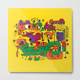 Yellow Doodle Monster World Metal Print