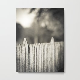 Old fence in black and white Metal Print