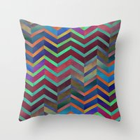holographic Throw Pillows featuring Color Transition Chevron by Klara Acel